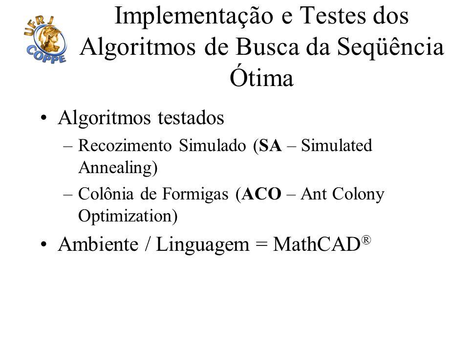 Implementação e Testes dos Algoritmos de Busca da Seqüência Ótima Algoritmos testados –Recozimento Simulado (SA – Simulated Annealing) –Colônia de For