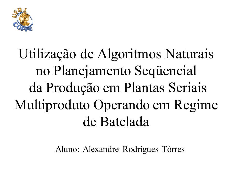 Utilização de Algoritmos Naturais no Planejamento Seqüencial da Produção em Plantas Seriais Multiproduto Operando em Regime de Batelada Aluno: Alexand