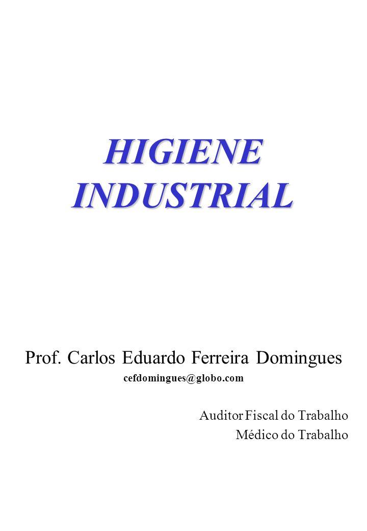 HIGIENE INDUSTRIAL Prof. Carlos Eduardo Ferreira Domingues cefdomingues@globo.com Auditor Fiscal do Trabalho Médico do Trabalho