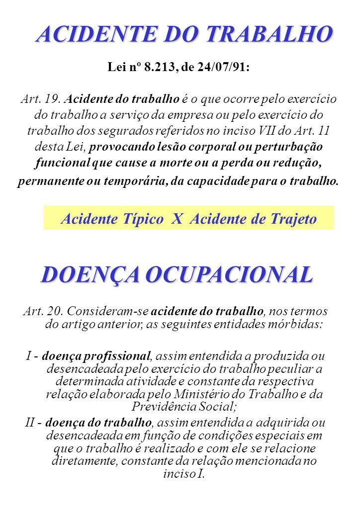 ACIDENTE DO TRABALHO Lei nº 8.213, de 24/07/91: Art. 19. Acidente do trabalho é o que ocorre pelo exercício do trabalho a serviço da empresa ou pelo e