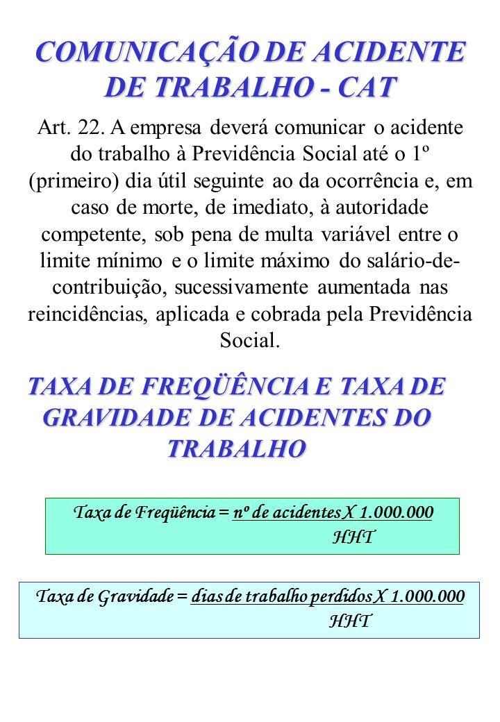 COMUNICAÇÃO DE ACIDENTE DE TRABALHO - CAT Art. 22. A empresa deverá comunicar o acidente do trabalho à Previdência Social até o 1º (primeiro) dia útil