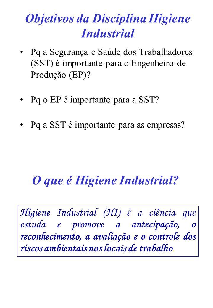 Objetivos da Disciplina Higiene Industrial Pq a Segurança e Saúde dos Trabalhadores (SST) é importante para o Engenheiro de Produção (EP)? Pq o EP é i
