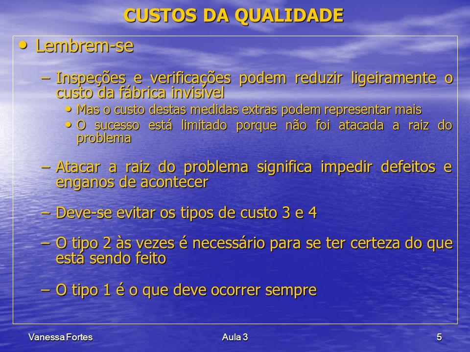 Vanessa FortesAula 35 Lembrem-se Lembrem-se –Inspeções e verificações podem reduzir ligeiramente o custo da fábrica invisível Mas o custo destas medid