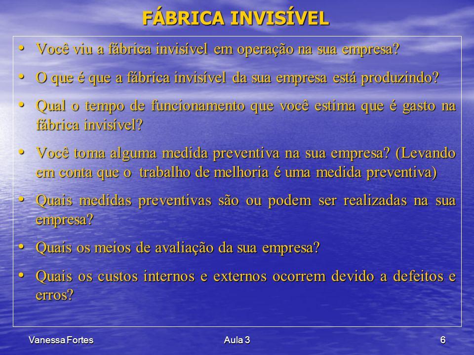 Vanessa FortesAula 36 Você viu a fábrica invisível em operação na sua empresa? Você viu a fábrica invisível em operação na sua empresa? O que é que a