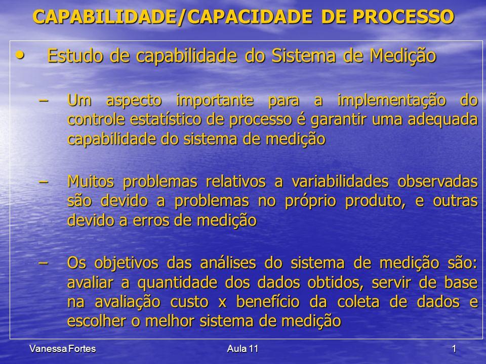 Vanessa FortesAula 111 Estudo de capabilidade do Sistema de Medição Estudo de capabilidade do Sistema de Medição –Um aspecto importante para a impleme