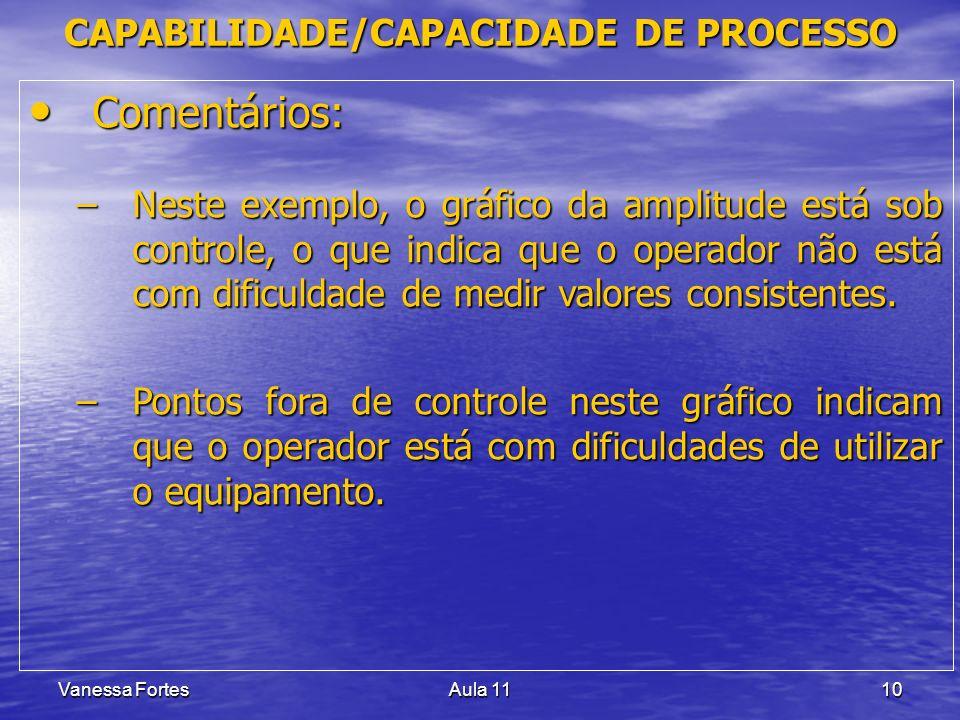 Vanessa FortesAula 1110 Comentários: Comentários: –Neste exemplo, o gráfico da amplitude está sob controle, o que indica que o operador não está com dificuldade de medir valores consistentes.