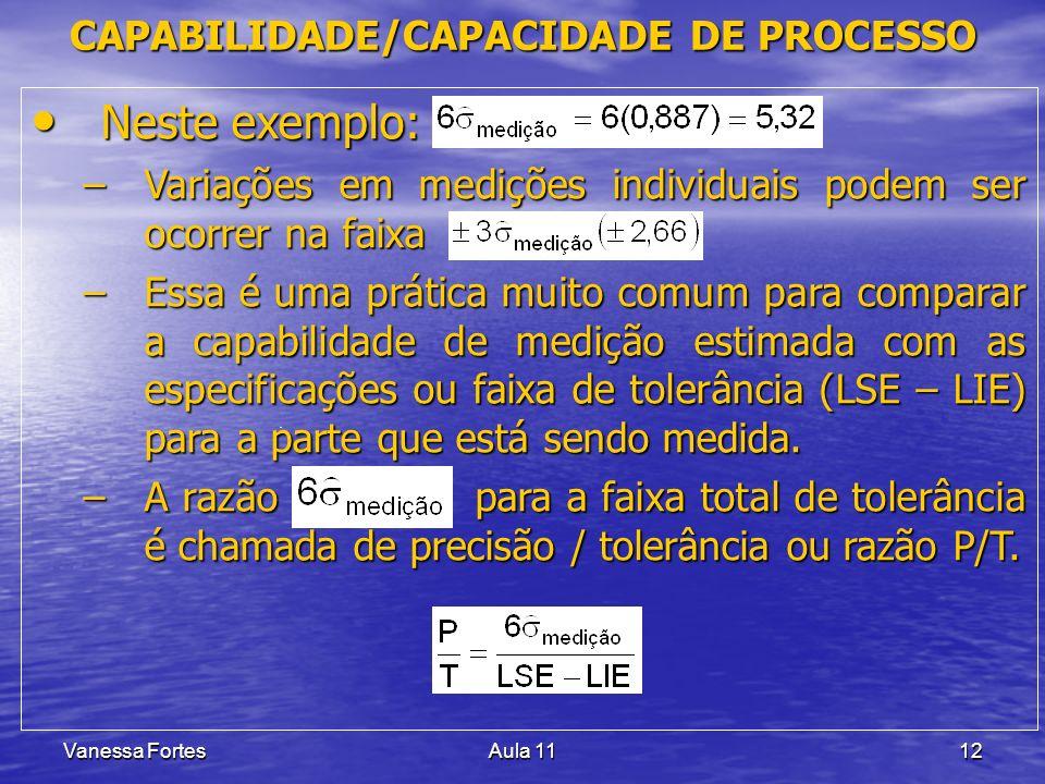 Vanessa FortesAula 1112 Neste exemplo: Neste exemplo: –Variações em medições individuais podem ser ocorrer na faixa –Essa é uma prática muito comum pa