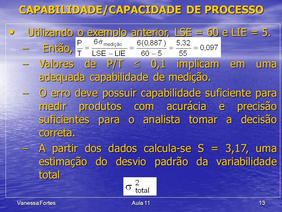 Vanessa FortesAula 1113 Utilizando o exemplo anterior, LSE = 60 e LIE = 5. Utilizando o exemplo anterior, LSE = 60 e LIE = 5. – Então, –Valores de P/T