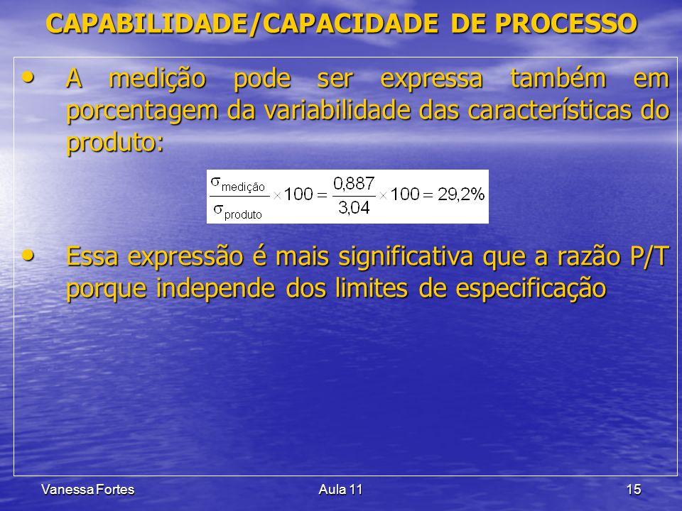 Vanessa FortesAula 1115 A medição pode ser expressa também em porcentagem da variabilidade das características do produto: A medição pode ser expressa