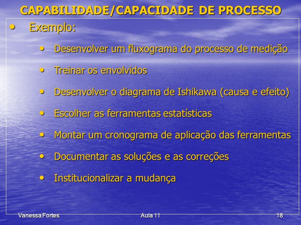 Vanessa FortesAula 1118 Exemplo: Exemplo: Desenvolver um fluxograma do processo de medição Desenvolver um fluxograma do processo de medição Treinar os