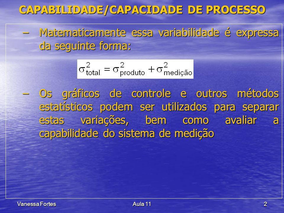 Vanessa FortesAula 112 –Matematicamente essa variabilidade é expressa da seguinte forma: –Os gráficos de controle e outros métodos estatísticos podem ser utilizados para separar estas variações, bem como avaliar a capabilidade do sistema de medição CAPABILIDADE/CAPACIDADE DE PROCESSO