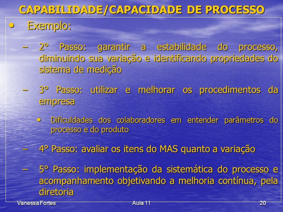 Vanessa FortesAula 1120 Exemplo: Exemplo: –2° Passo: garantir a estabilidade do processo, diminuindo sua variação e identificando propriedades do sist
