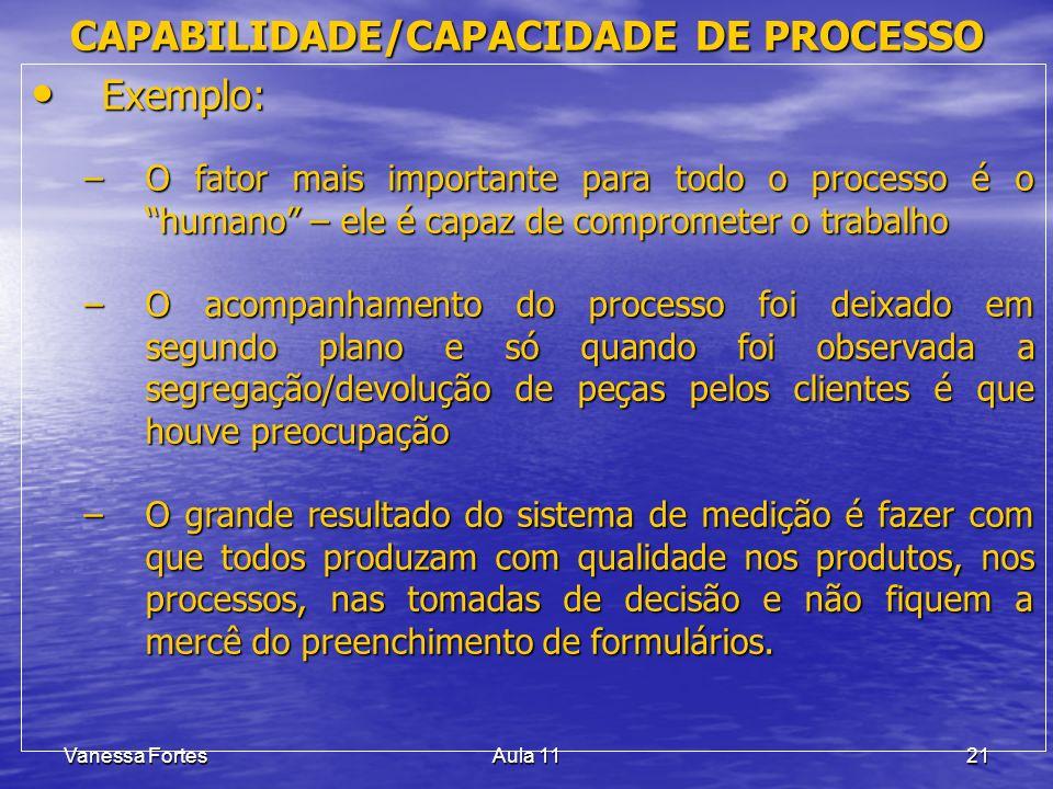 Vanessa FortesAula 1121 Exemplo: Exemplo: –O fator mais importante para todo o processo é o humano – ele é capaz de comprometer o trabalho –O acompanh