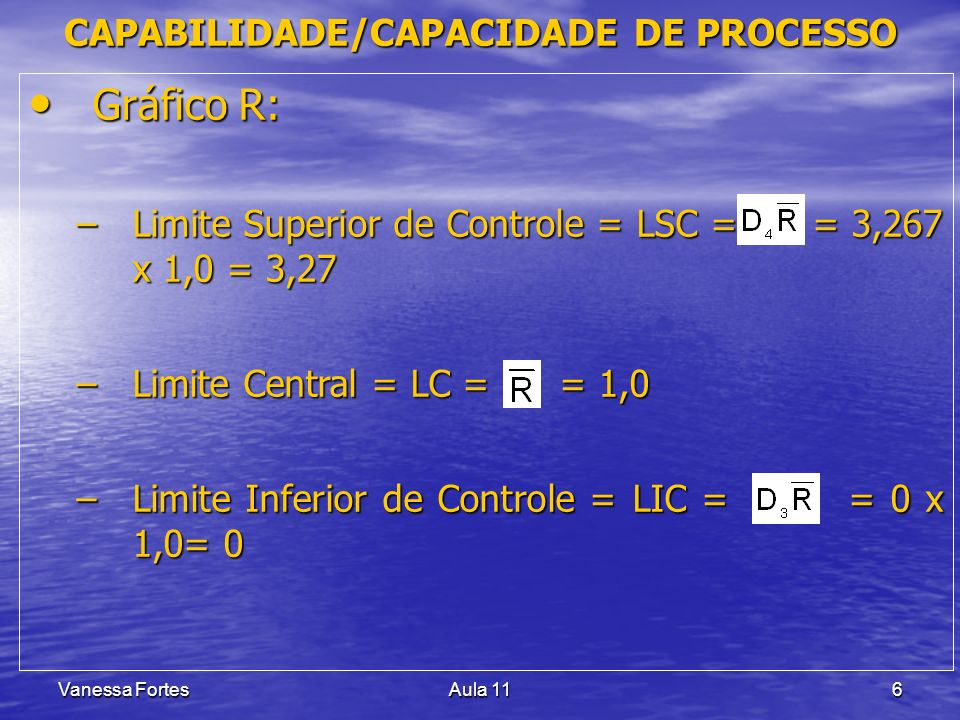 Vanessa FortesAula 116 Gráfico R: Gráfico R: –Limite Superior de Controle = LSC = = 3,267 x 1,0 = 3,27 –Limite Central = LC = = 1,0 –Limite Inferior de Controle = LIC = = 0 x 1,0= 0 CAPABILIDADE/CAPACIDADE DE PROCESSO