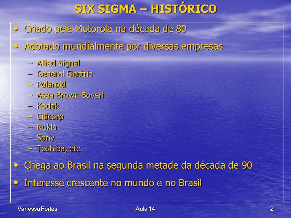 Vanessa FortesAula 142 SIX SIGMA – HISTÓRICO Criado pela Motorola na década de 80 Criado pela Motorola na década de 80 Adotado mundialmente por divers