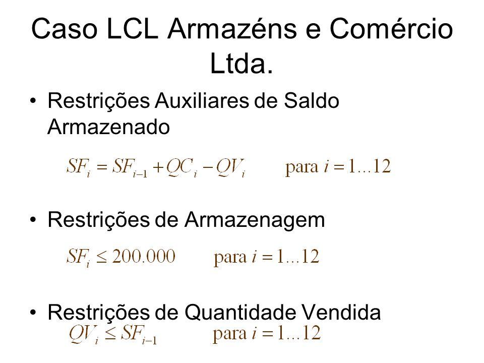Restrições Auxiliares de Saldo Armazenado Restrições de Armazenagem Restrições de Quantidade Vendida Caso LCL Armazéns e Comércio Ltda.
