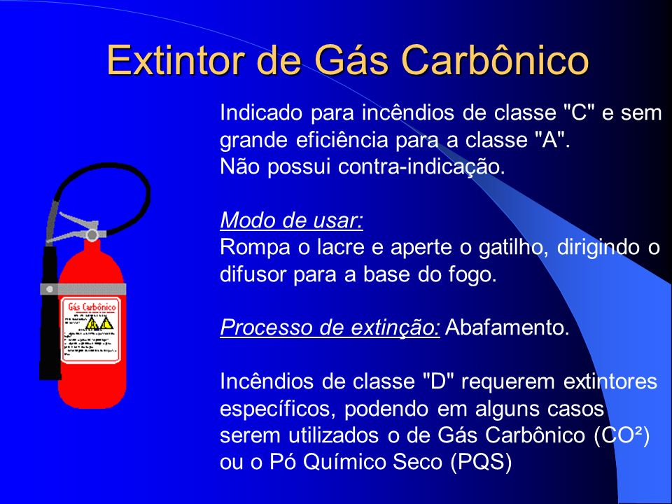 Extintor de Gás Carbônico Indicado para incêndios de classe