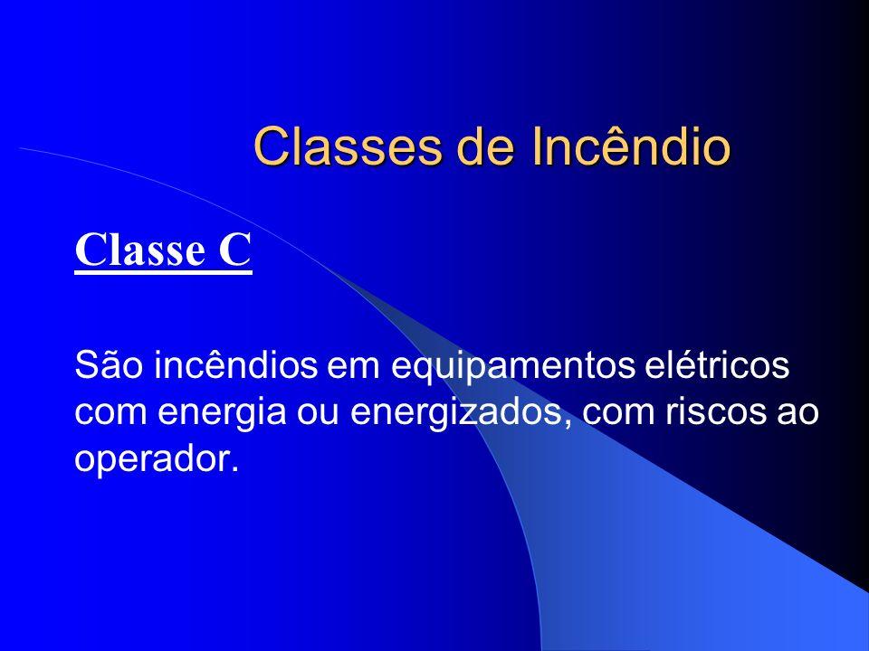 Classes de Incêndio Classe C São incêndios em equipamentos elétricos com energia ou energizados, com riscos ao operador.