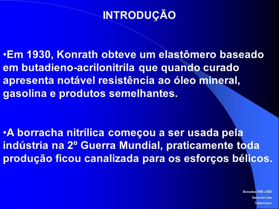 Borrachas NBR e SBR Janine de Lima Talita Castro PREPARAÇÃO MATÉRIAS - PRIMAS PROPILENOPETRÓLEOBUTADIENO ACRONITRILA ELASTÔMERO
