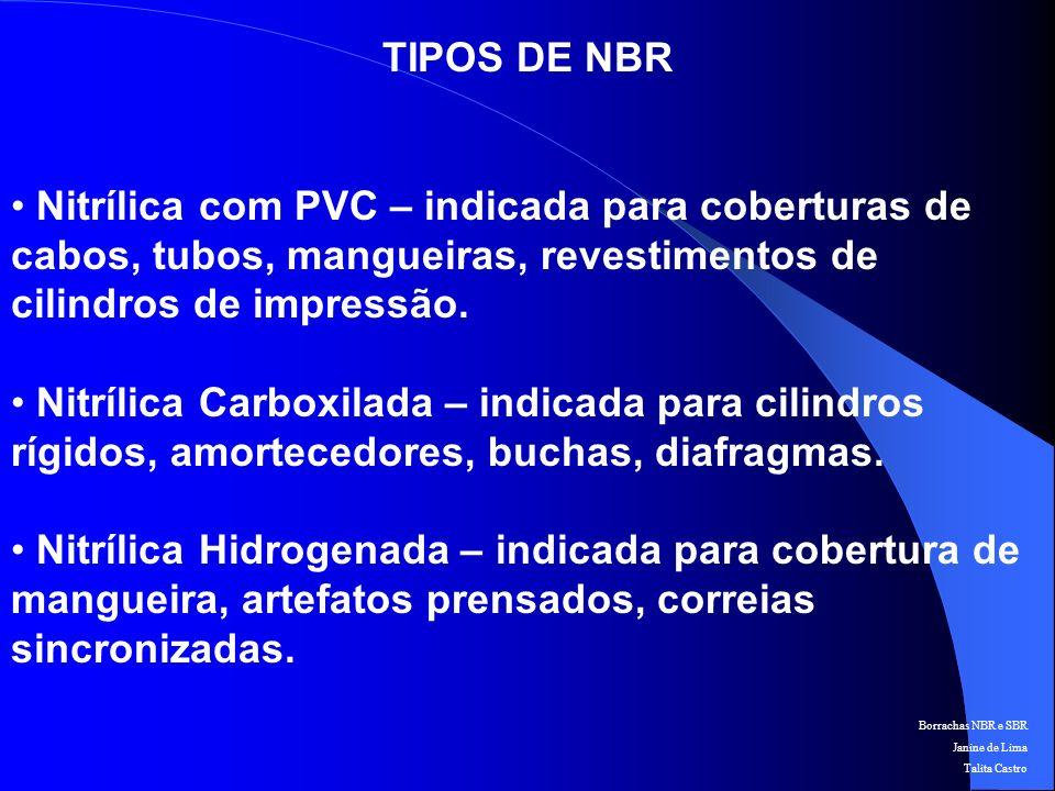 Borrachas NBR e SBR Janine de Lima Talita Castro APLICAÇÕES
