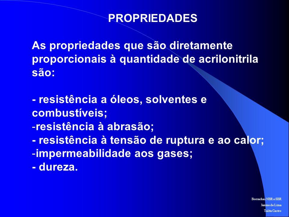 Borrachas NBR e SBR Janine de Lima Talita Castro PROPRIEDADES São inversamente proporcionais ao teor de acrilonitrila: - resistividade elétrica; - compatibilidade com plastificantes; - flexibilidade à baixas temperaturas.