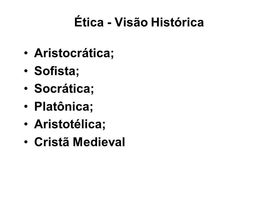 Ética - Visão Histórica Aristocrática; Sofista; Socrática; Platônica; Aristotélica; Cristã Medieval