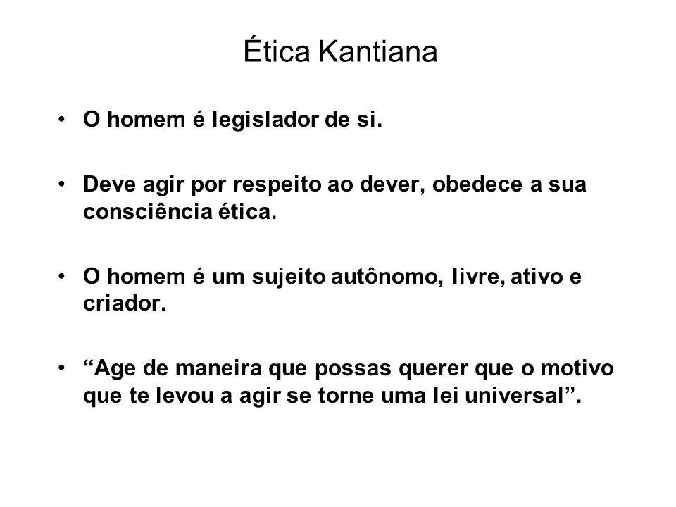 Ética Kantiana O homem é legislador de si. Deve agir por respeito ao dever, obedece a sua consciência ética. O homem é um sujeito autônomo, livre, ati