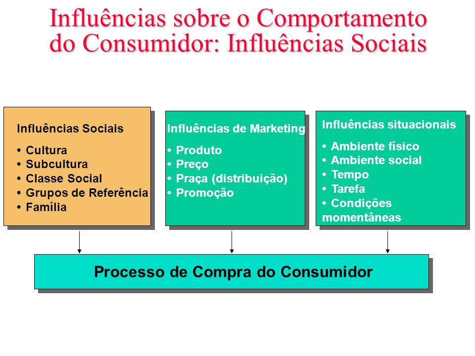 Influências sobre o Comportamento do Consumidor: Influências Sociais Influências Sociais CulturaSubculturaClasse SocialGrupos de ReferênciaFamília Inf