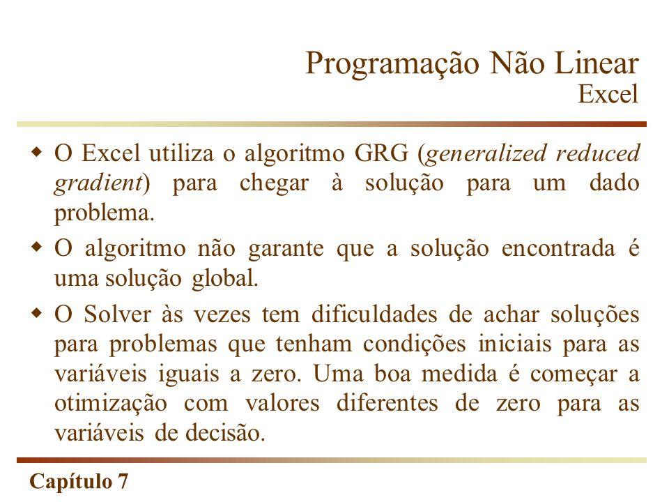 Capítulo 7 Programação Não Linear Excel O Excel utiliza o algoritmo GRG (generalized reduced gradient) para chegar à solução para um dado problema. O