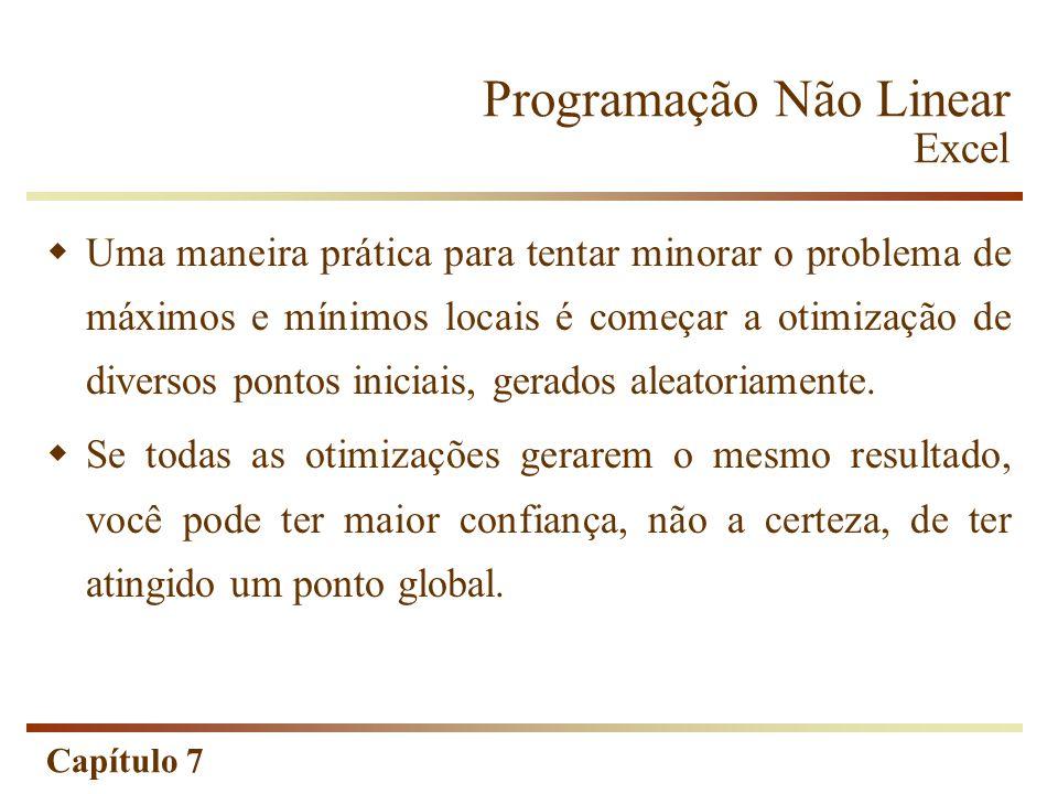 Capítulo 7 Programação Não Linear Excel Uma maneira prática para tentar minorar o problema de máximos e mínimos locais é começar a otimização de diver
