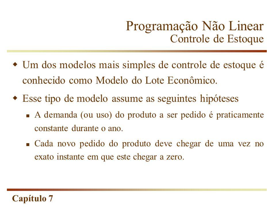 Capítulo 7 Programação Não Linear Controle de Estoque Um dos modelos mais simples de controle de estoque é conhecido como Modelo do Lote Econômico. Es
