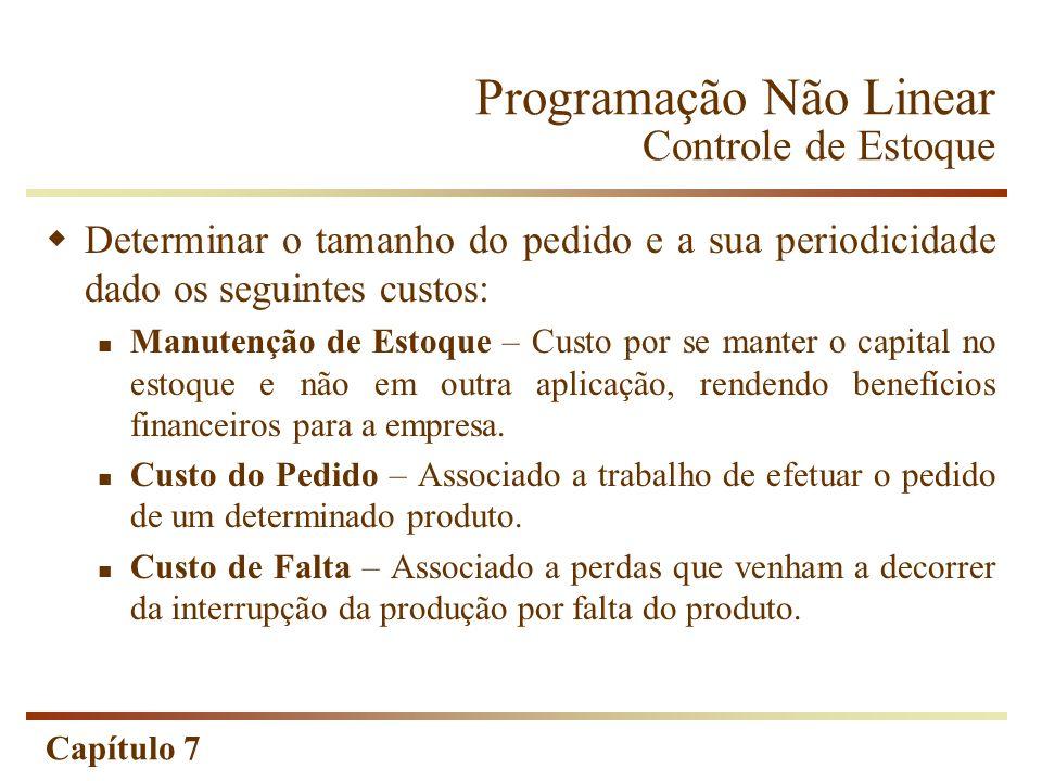 Capítulo 7 Programação Não Linear Controle de Estoque Determinar o tamanho do pedido e a sua periodicidade dado os seguintes custos: Manutenção de Est