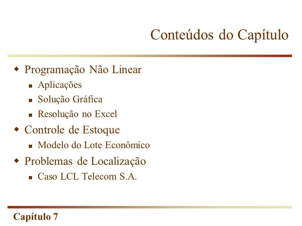 Capítulo 7 Conteúdos do Capítulo Programação Não Linear Aplicações Solução Gráfica Resolução no Excel Controle de Estoque Modelo do Lote Econômico Pro