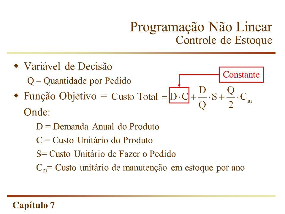 Capítulo 7 Variável de Decisão Q – Quantidade por Pedido Função Objetivo = Onde: D = Demanda Anual do Produto C = Custo Unitário do Produto S= Custo U