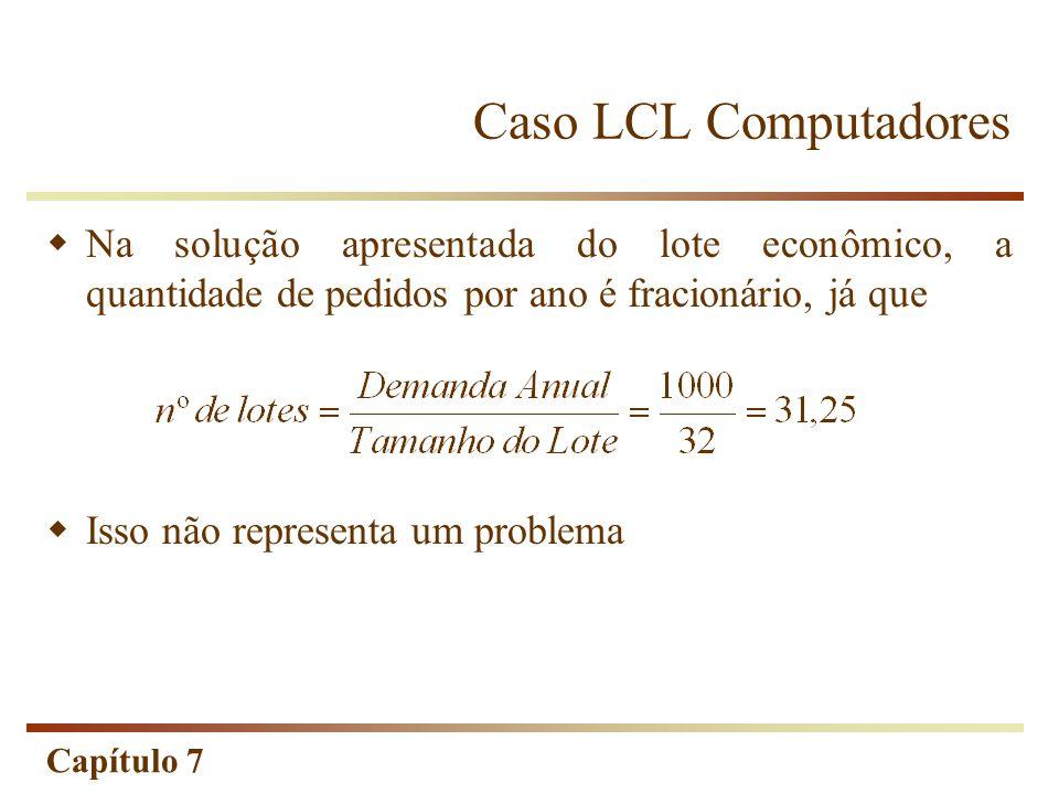 Capítulo 7 Caso LCL Computadores Na solução apresentada do lote econômico, a quantidade de pedidos por ano é fracionário, já que Isso não representa u