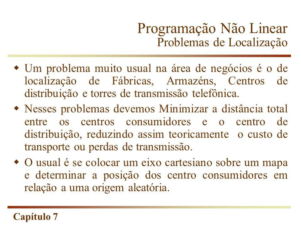 Capítulo 7 Programação Não Linear Problemas de Localização Um problema muito usual na área de negócios é o de localização de Fábricas, Armazéns, Centr