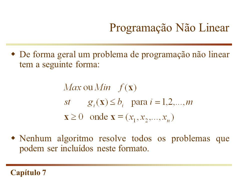 Capítulo 7 Programação Não Linear A solução ótima de um problema de programação não linear(NLP), diferentemente de um problema de LP, pode ser qualquer ponto do conjunto de soluções viáveis.