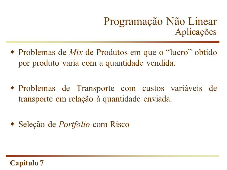 Capítulo 7 Programação Não Linear Aplicações Problemas de Mix de Produtos em que o lucro obtido por produto varia com a quantidade vendida. Problemas