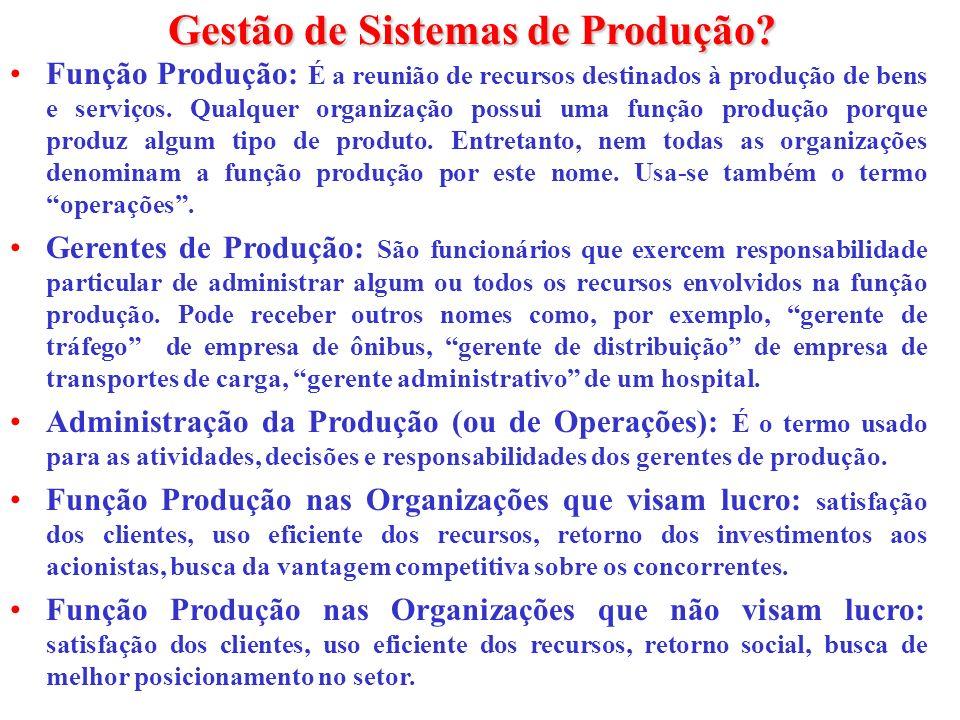 Gestão de Sistemas de Produção? Função Produção: É a reunião de recursos destinados à produção de bens e serviços. Qualquer organização possui uma fun