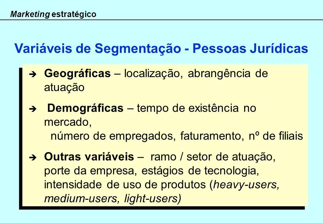 Marketing estratégico Geográficas – localização, abrangência de atuação Demográficas – tempo de existência no mercado, número de empregados, faturamen