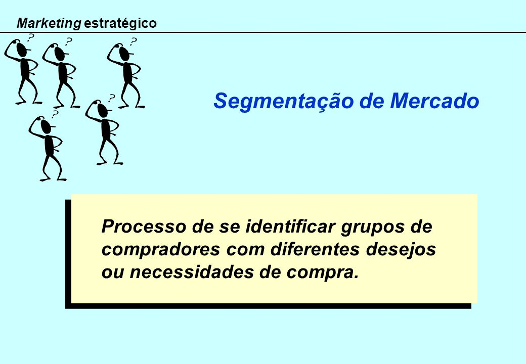 Marketing estratégico Segmentação de Mercado Grupo existente ou em potencial de consumidores de quem se espera um padrão de resposta semelhante face a uma determinada oferta.