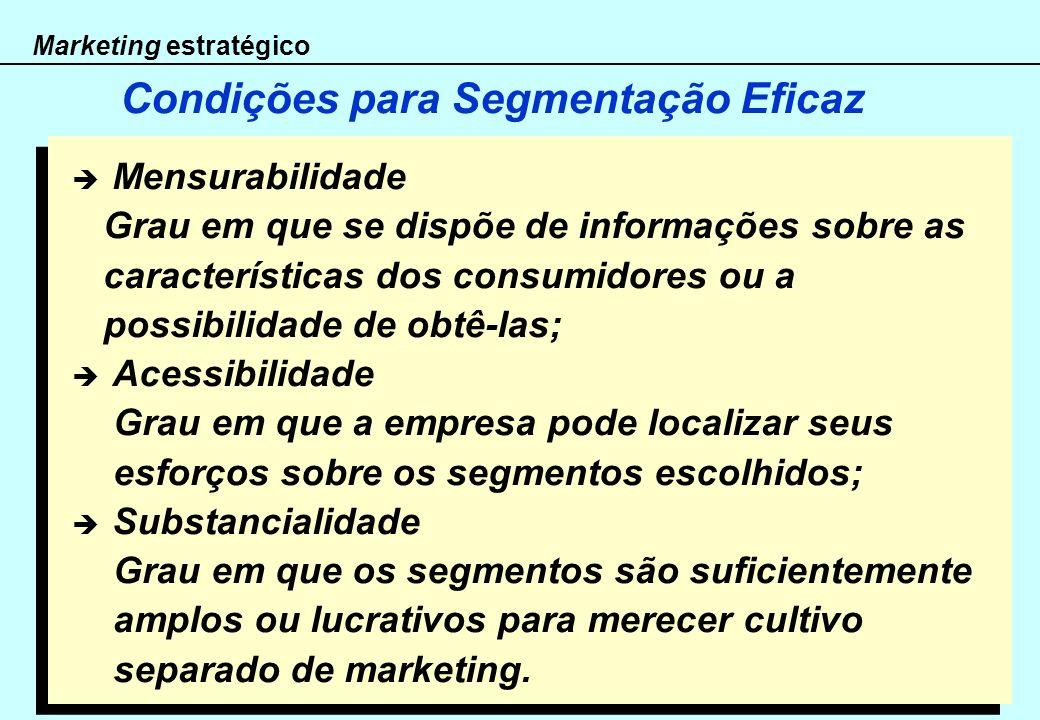 Marketing estratégico Condições para Segmentação Eficaz Mensurabilidade Grau em que se dispõe de informações sobre as características dos consumidores