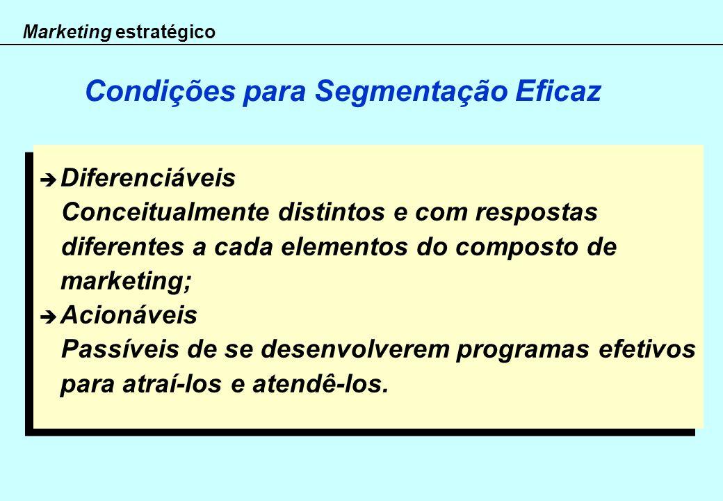 Marketing estratégico Condições para Segmentação Eficaz Diferenciáveis Conceitualmente distintos e com respostas diferentes a cada elementos do compos