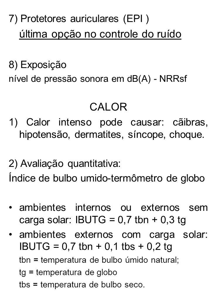 7) Protetores auriculares (EPI ) última opção no controle do ruído 8) Exposição nível de pressão sonora em dB(A) - NRRsf CALOR 1) Calor intenso pode c