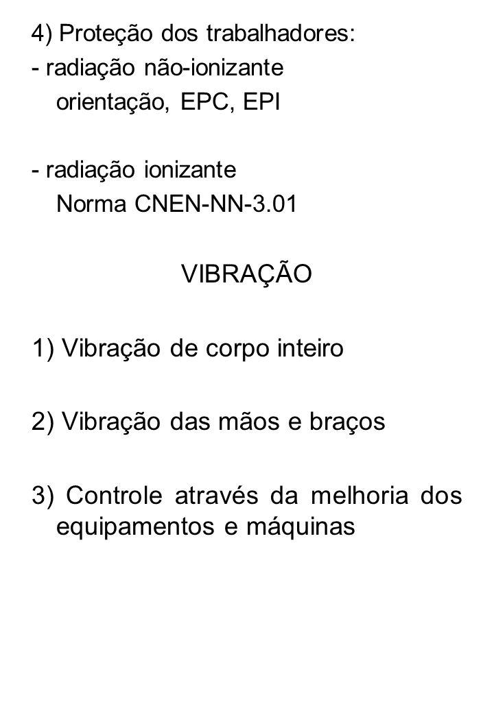 4) Proteção dos trabalhadores: - radiação não-ionizante orientação, EPC, EPI - radiação ionizante Norma CNEN-NN-3.01 VIBRAÇÃO 1) Vibração de corpo int