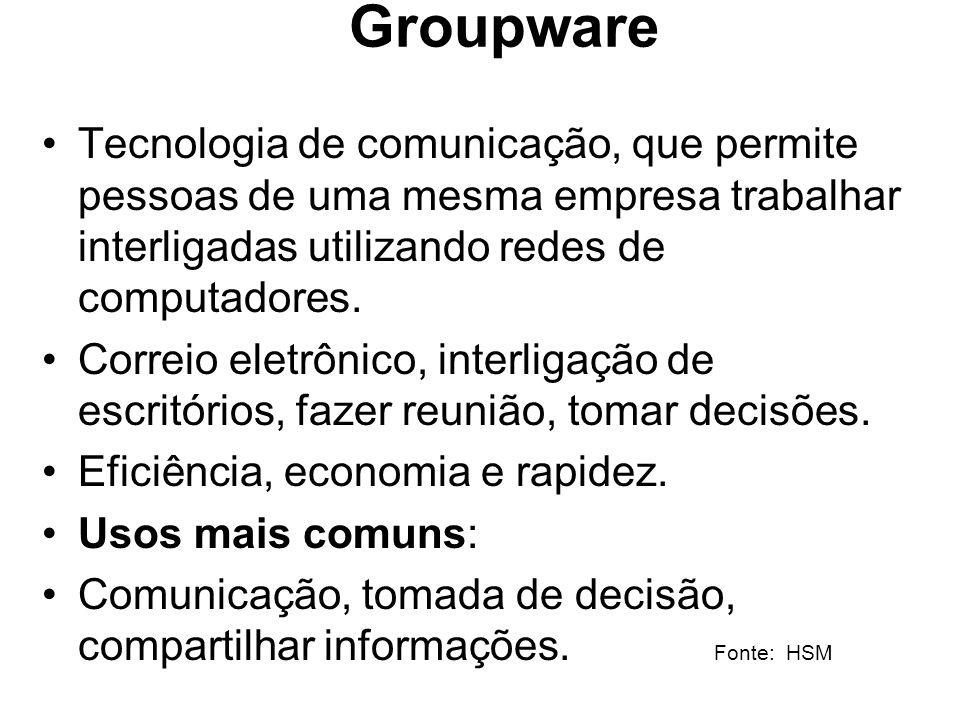 Groupware Tecnologia de comunicação, que permite pessoas de uma mesma empresa trabalhar interligadas utilizando redes de computadores. Correio eletrôn