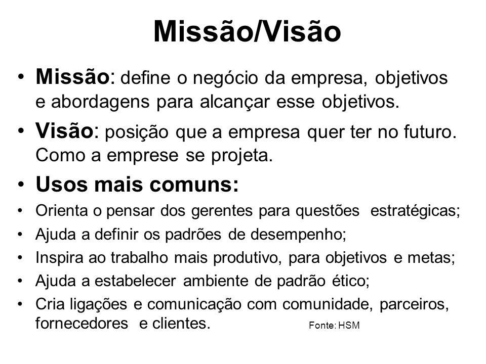 Missão/Visão Missão: define o negócio da empresa, objetivos e abordagens para alcançar esse objetivos. Visão: posição que a empresa quer ter no futuro