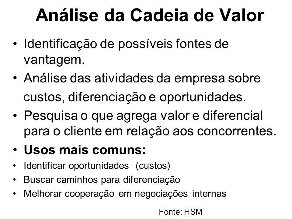 Análise da Cadeia de Valor Identificação de possíveis fontes de vantagem. Análise das atividades da empresa sobre custos, diferenciação e oportunidade