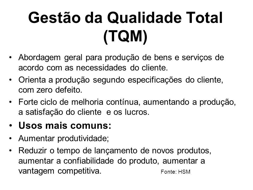 Gestão da Qualidade Total (TQM) Abordagem geral para produção de bens e serviços de acordo com as necessidades do cliente. Orienta a produção segundo