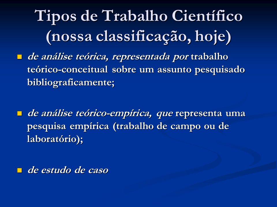 Tipos de Trabalho Científico (nossa classificação, hoje) de análise teórica, representada por trabalho teórico-conceitual sobre um assunto pesquisado